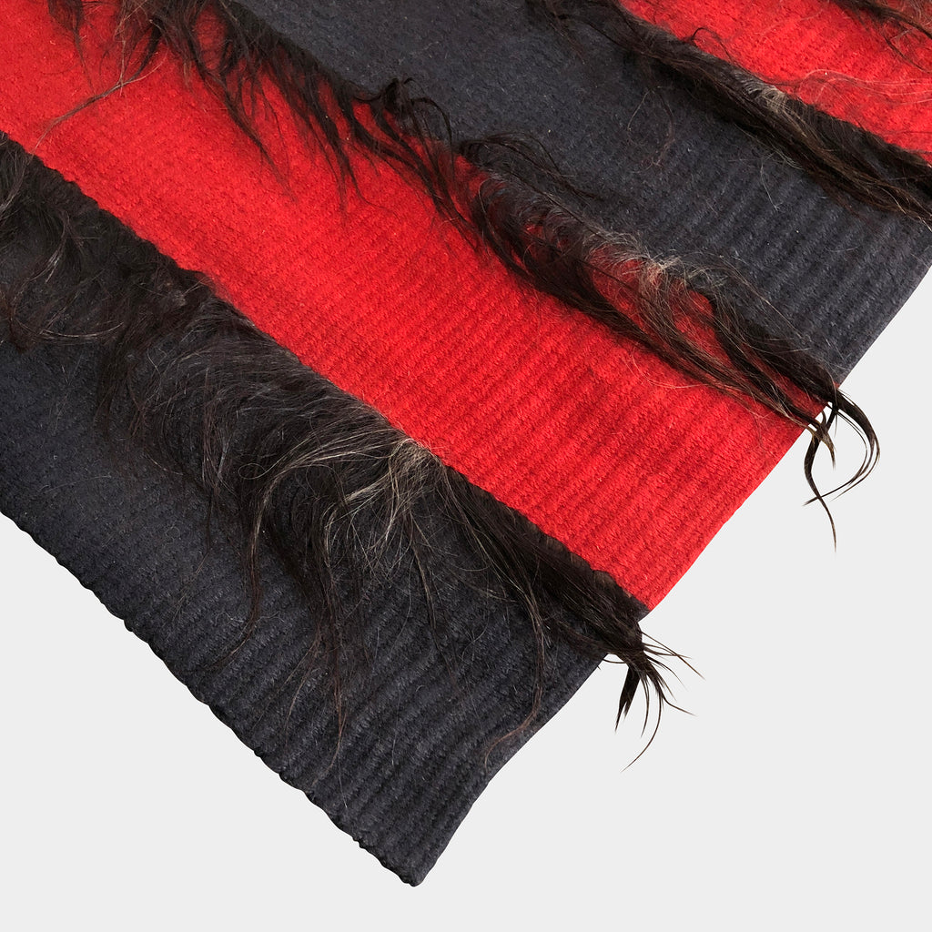 Red & Black Striped Rug With Goat Hair, Rug - Modern Resale