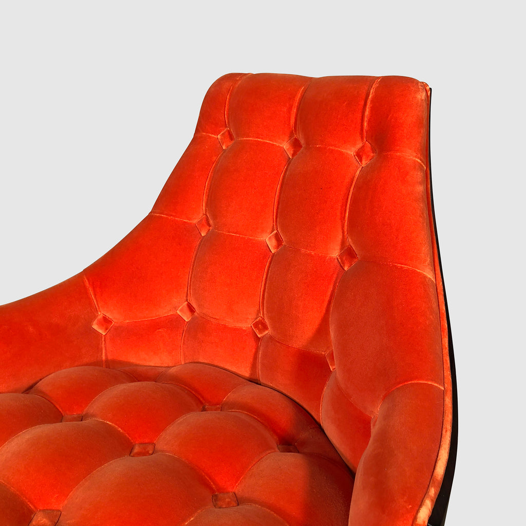 Sawaya & Moroni 'Eloise' Orange Velvet Lounge Chair Close up view | Los Angeles | Consignment