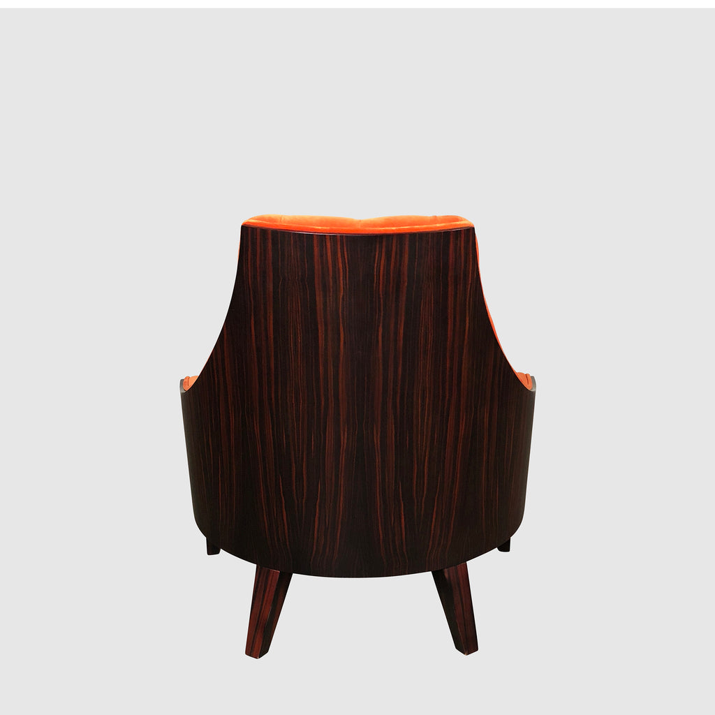Sawaya & Moroni 'Eloise' Orange Velvet Lounge Chair Back View | Los Angeles | Consignment