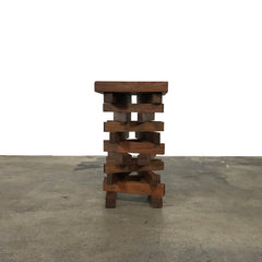 Riva 1920 Solid Walnut Jenga Stool - Side Table | LA | Consignment