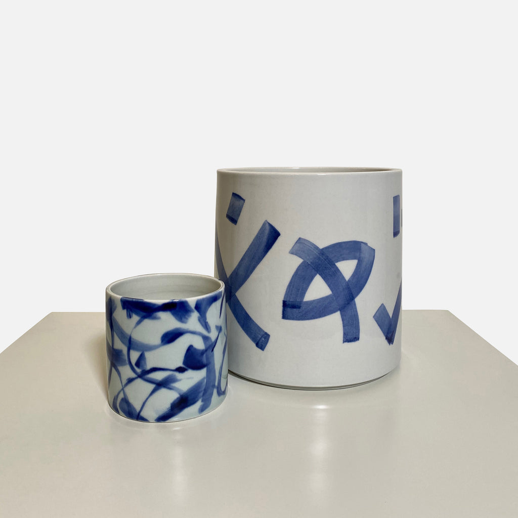 'Something Blue' Large Blue & White Ceramic Vase by Agnes Fries in collaboration with Giada Yeya Montomoli.