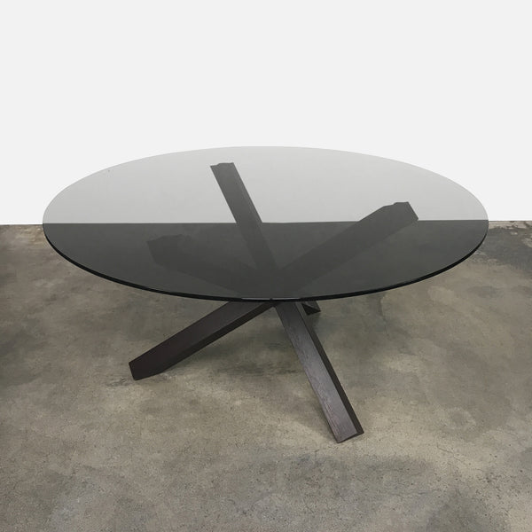 Sovet Italia Aikido Smoked Glass Dining Table Wenge Base