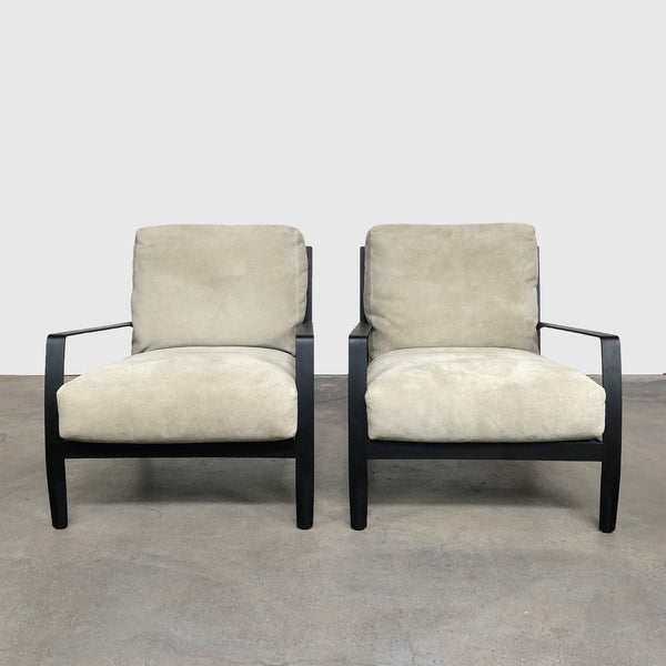 Minotti 'Richards' Beige Criss-Cross Back Suede Armchair (2 in stock)