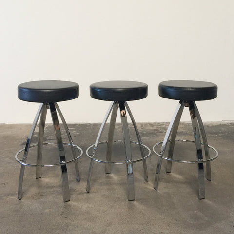 Round Counter Stools With Chrome Frame