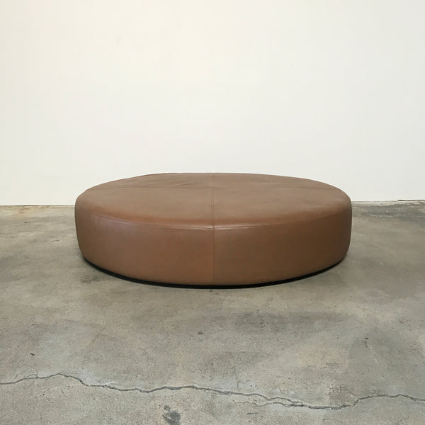 B&B Italia Brown Leather Harry Large Ottoman by Antonio Citterio