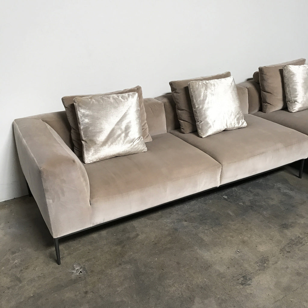 B&B Italia Velvet Taupe Michel Effe Sectional | Los Angeles | Consignment