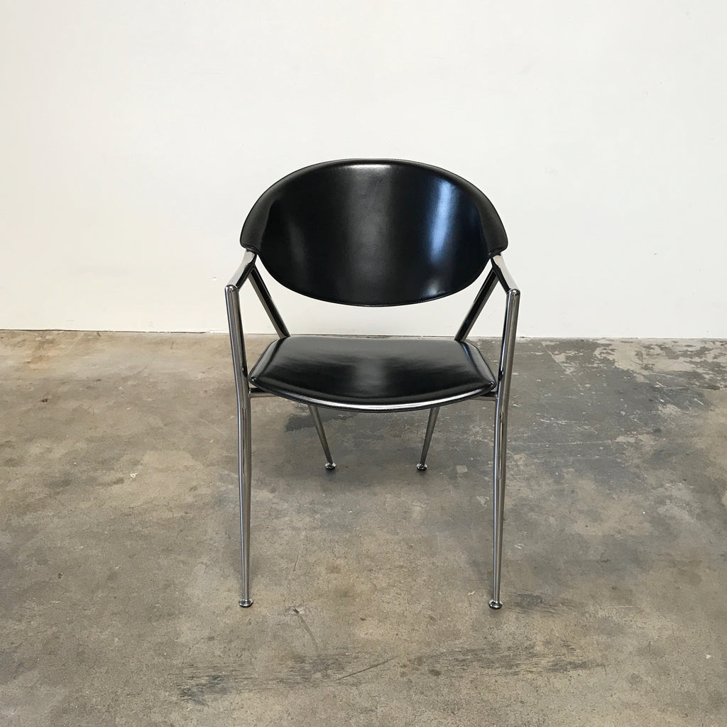 Calligaris Black Leather Chrome Dining Room Chairs