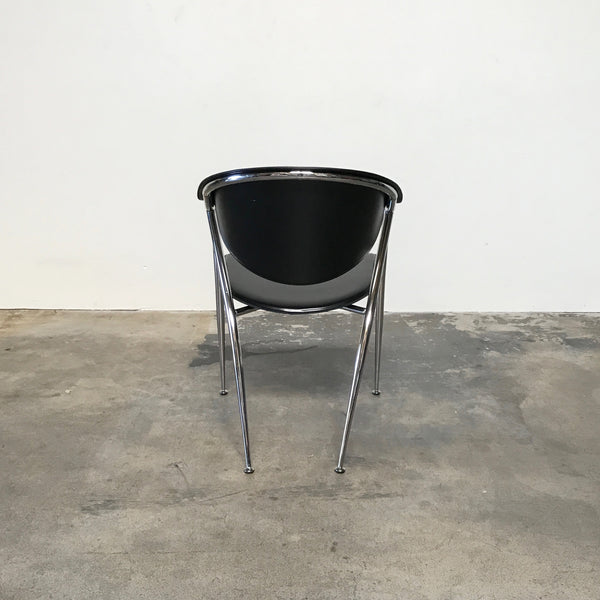 Calligaris Black Leather & Chrome Dining Room Chairs | LA Consignment