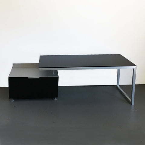 Everywhere Pivoting Desk with File Cabinet