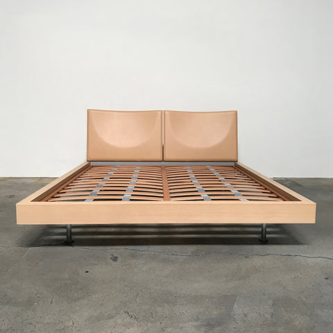 Poliform Camel Leather Queen Bed | LA | Consignment