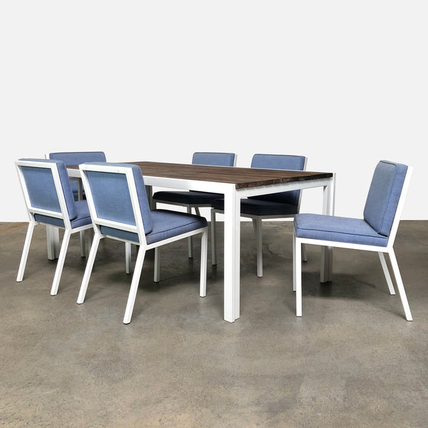 Van Keppel-Green Outdoor Dining Table & Chairs White and Blue