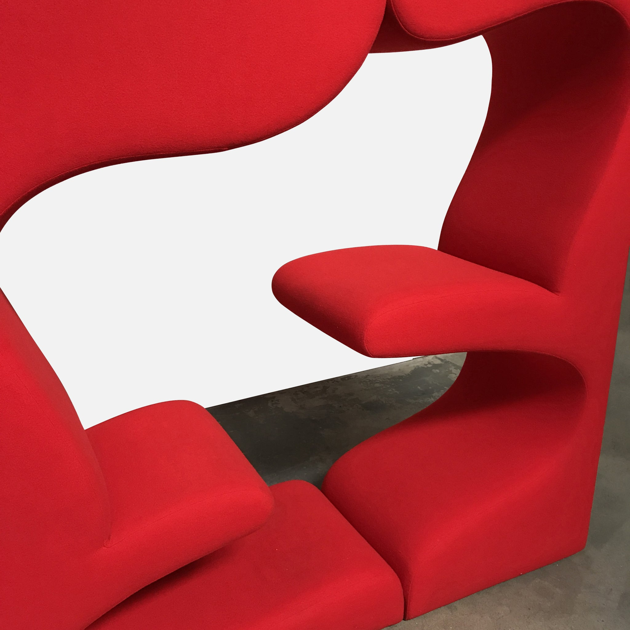 red fabric living seating tower by verner panton work of art