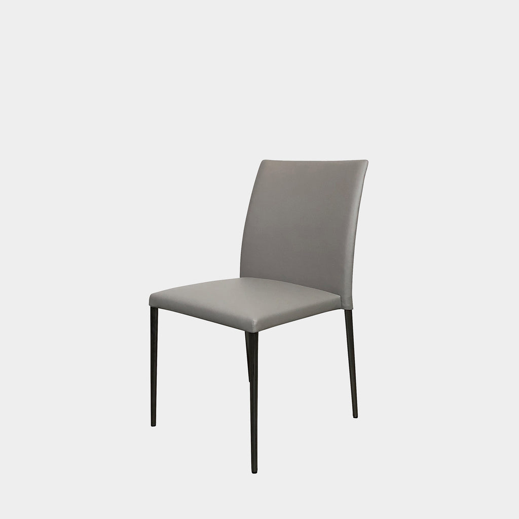 EOOSA Armless Deen Dining Chair in Grey Leather