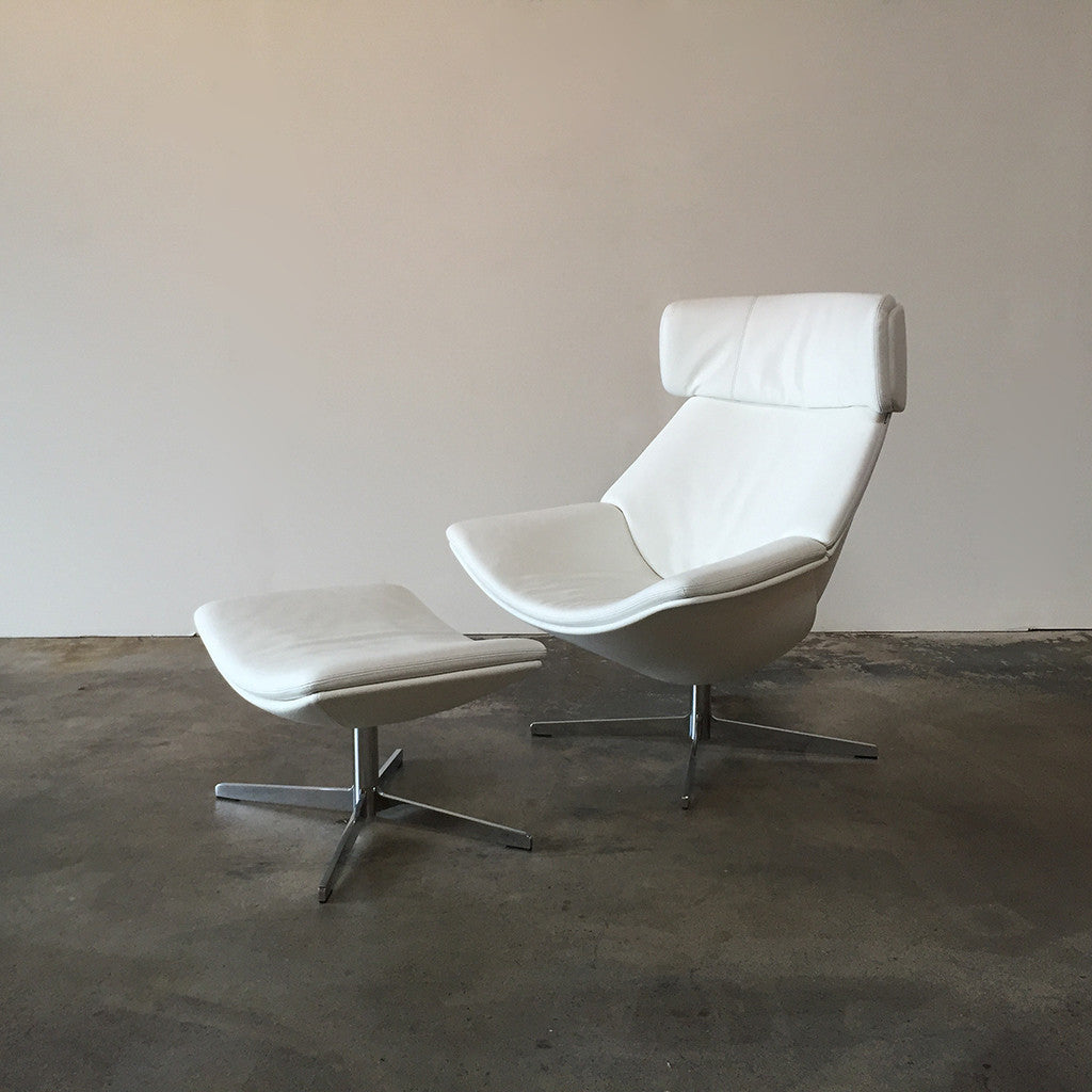 White Leather Walter Knoll Egon Chair U0026 Ottoman By EOOS | Los Angeles |  Modern Resale