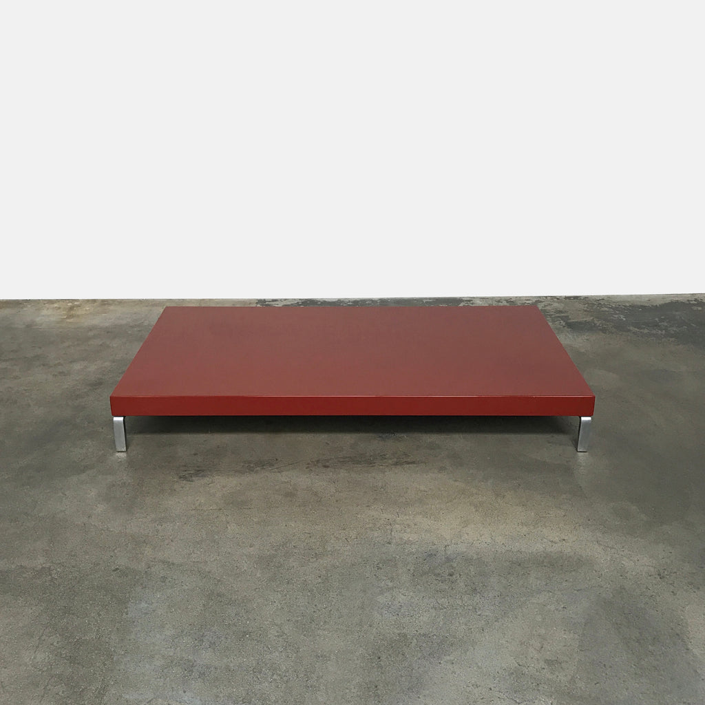 Zanotta Brick Red Glossy Lacquer Greggy Coffee Table | LA Consginment