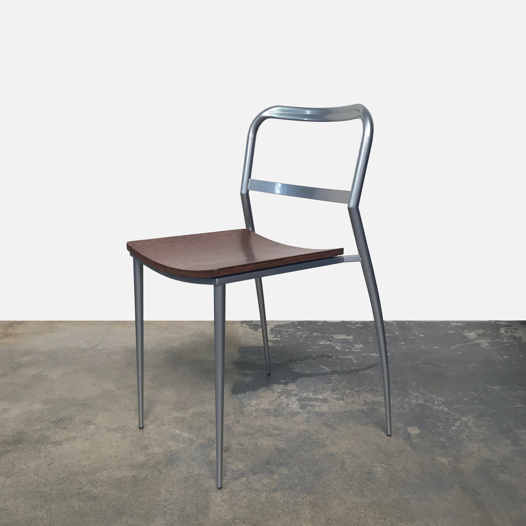 Zeus Aluminum and Wood Stackable Dining Chairs