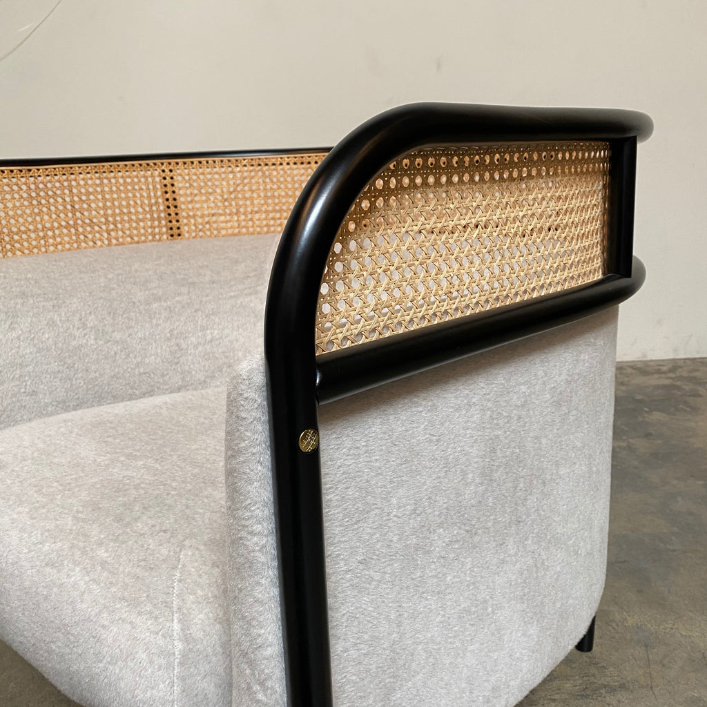 Black Painted Bent Beechwood Frame, Woven Cane, Mohair Upholstery