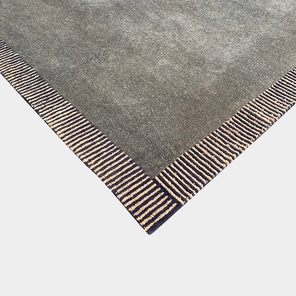 Toulemonde Bochart 'Manhattan' Wool Gray Rug with Striped Edges