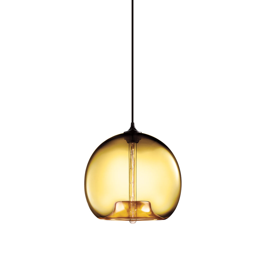 Niche 'Stamen' Pendant Light by Jeremy Pyles  Beautiful amber colored bubble of light.  Light Bulb: Tubular Dimmable Incandescent 120V/75W  Material: Hand Blown Glass