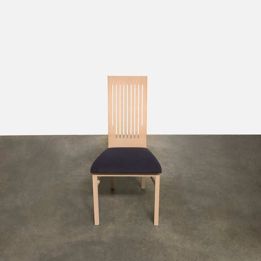 Gramrode High-Back Dining Chair Beech wood and Purple Fabric Seats