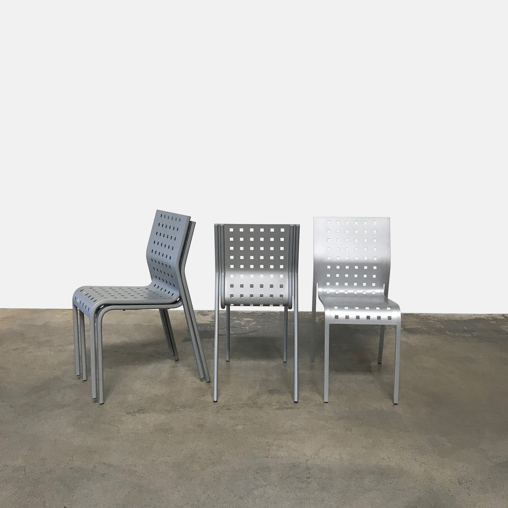 Zanotta Aluminum Stackable Dining Chairs Set of 4
