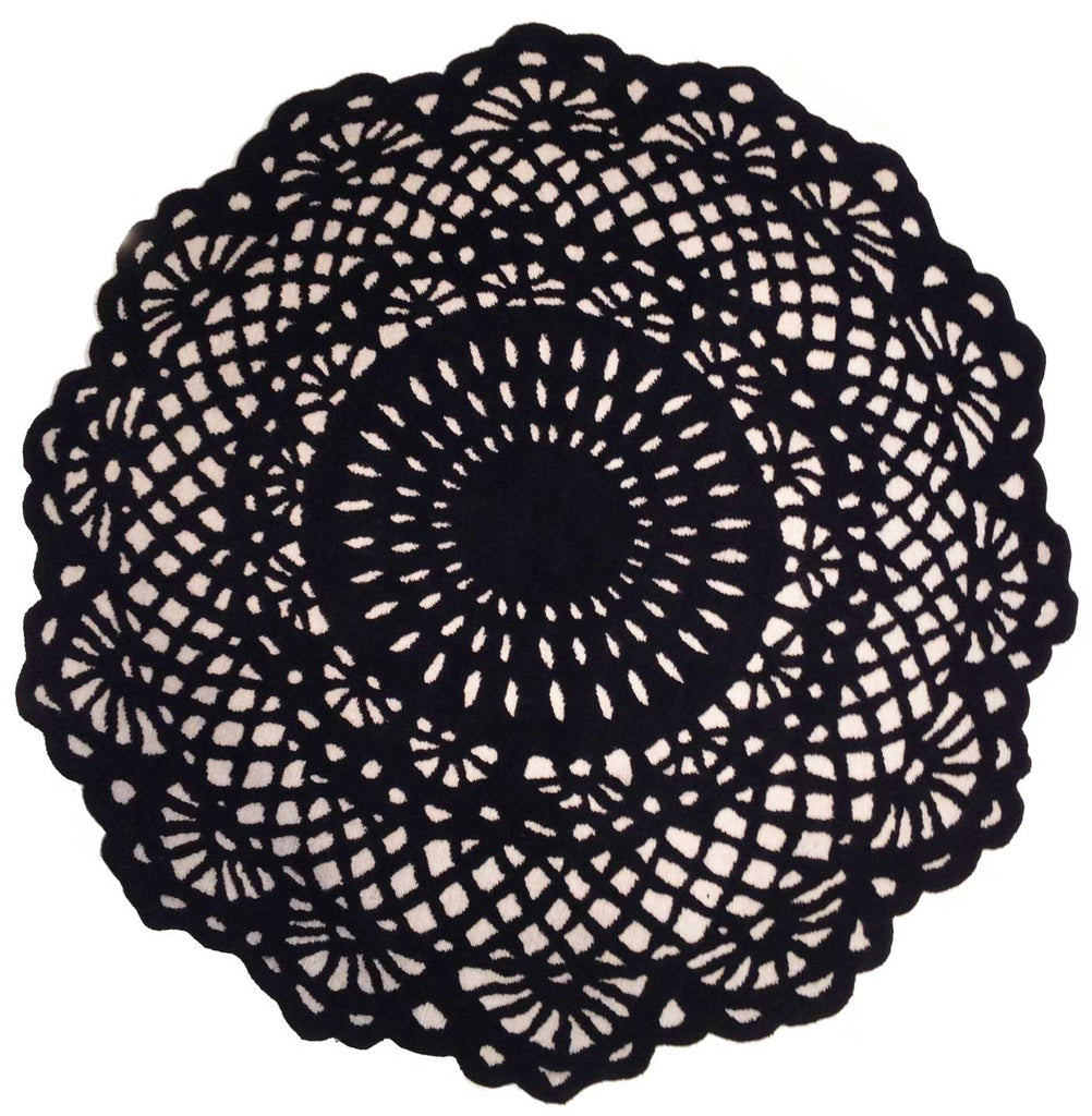 Doily 6' Round Black and Cream Rug, Rug - Modern Resale