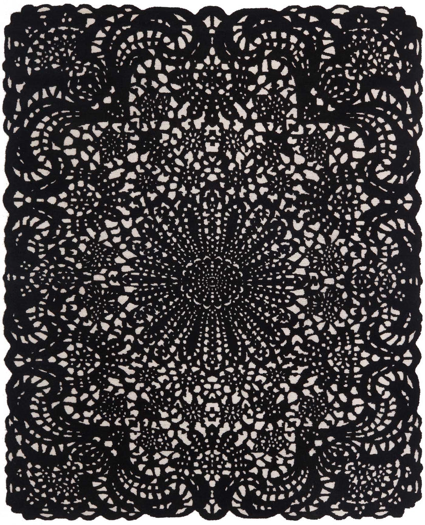 Doily Black & White 8'X10' Wool Rug, Rug - Modern Resale