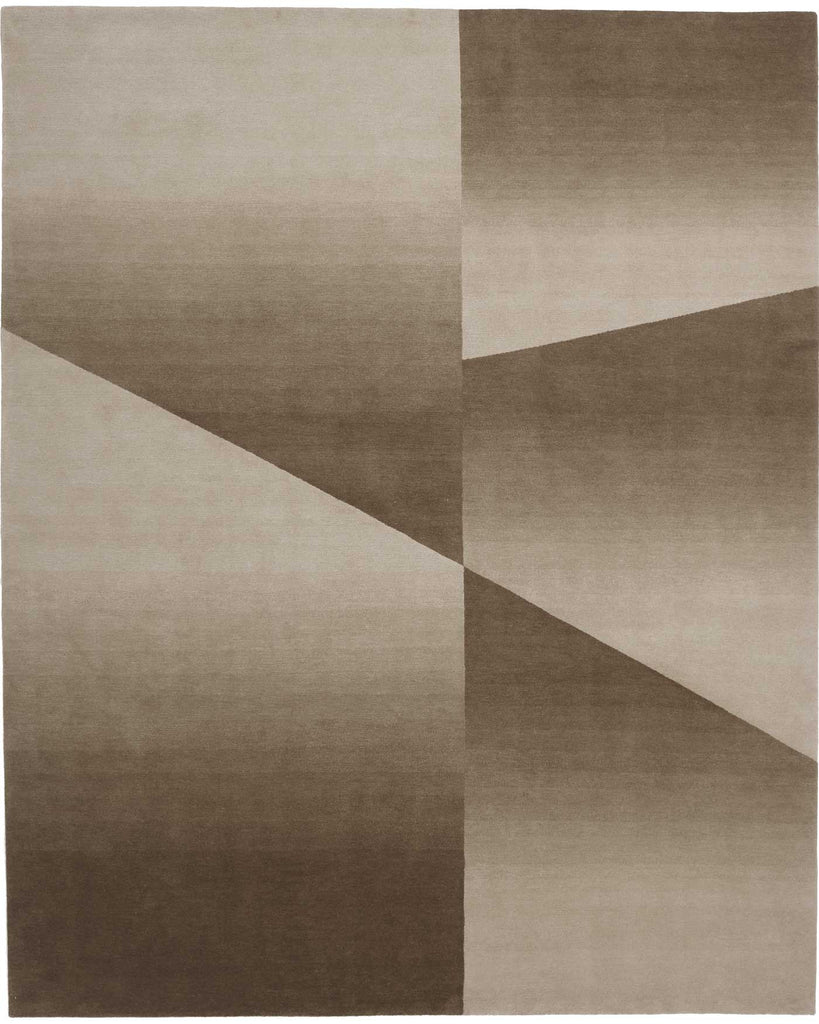 Facet Cropped Beige & Cream 8'X10' Wool Rug, Rug - Modern Resale