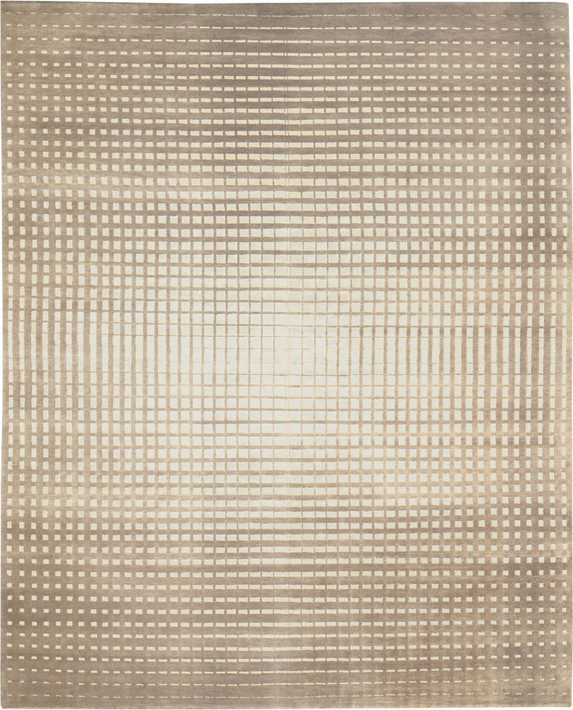 Gridlock Beige and Cream 8'X10' Wool Rug, Rug - Modern Resale
