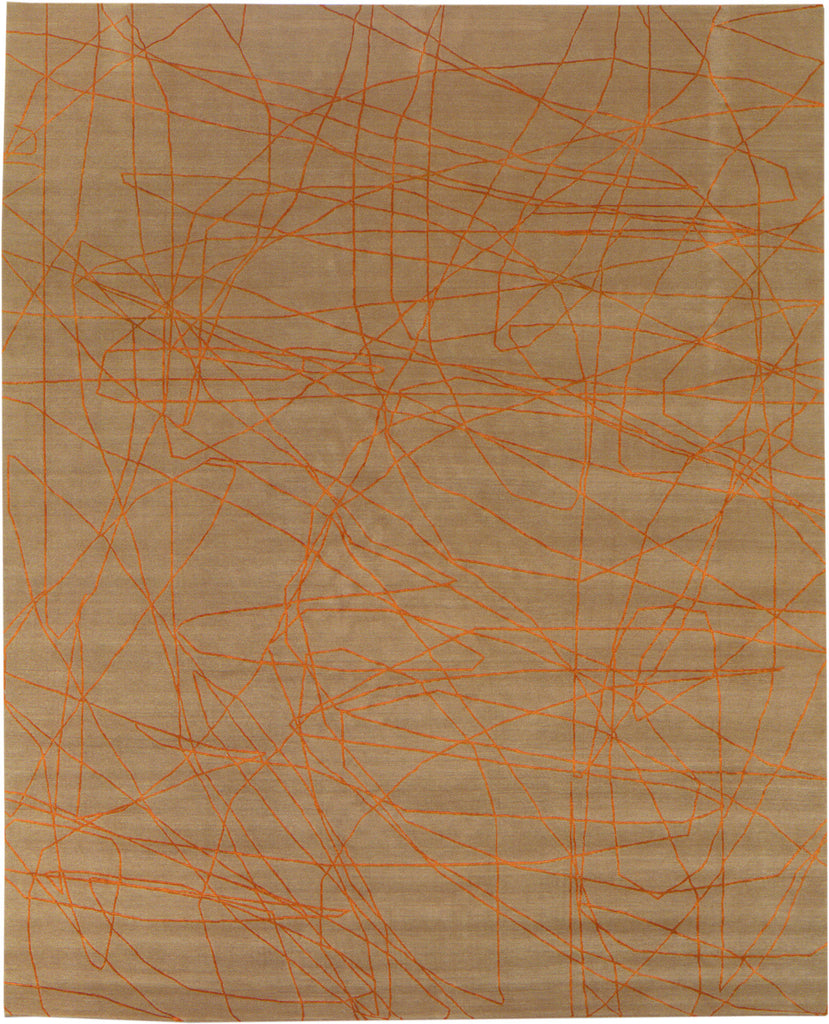 Wire Beige and Orange Wool Rug, Rug - Modern Resale