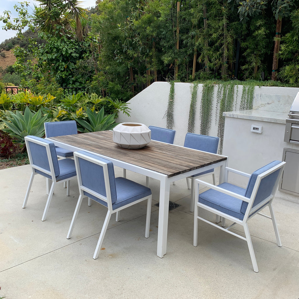 Van Keppel-Green Outdoor Dining Table & Chairs - Mid century table and chair set with teak top. on Sale Los Angeles