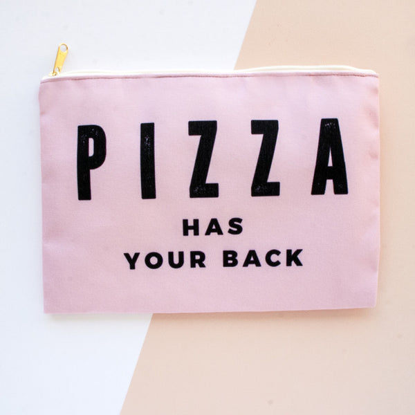 Pizza Has Your Back Makeup Bag, Makeup Pouch, Custom Bag (More Colors)