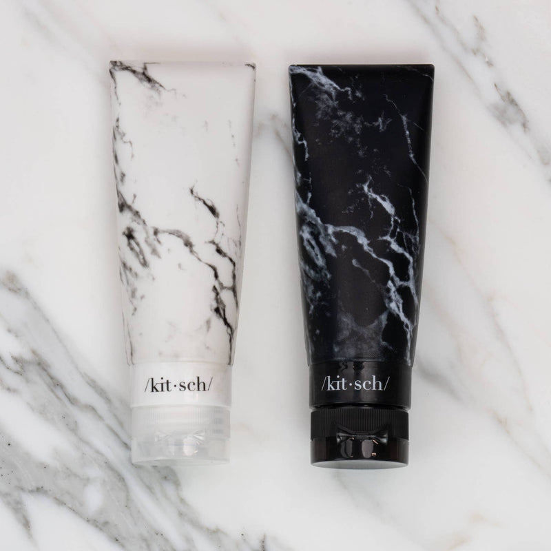 Black + White Marble Refillable 2PC Silicone Set