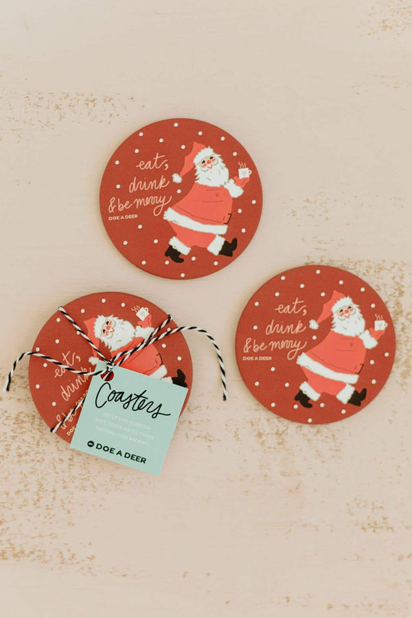 Eat, Drink & Be Merry Coasters (Set of 2)