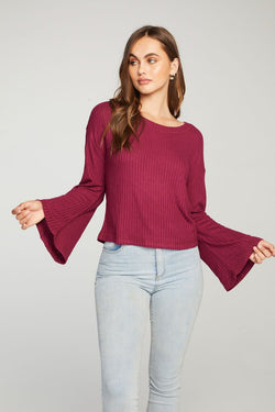 Plum Bell Sleeve Top