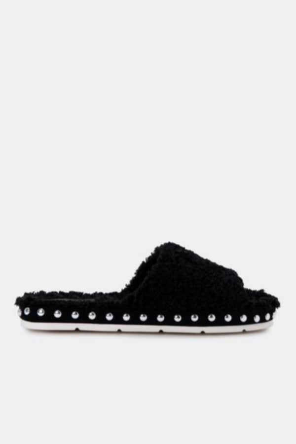 Mochi Black Plush Slippers