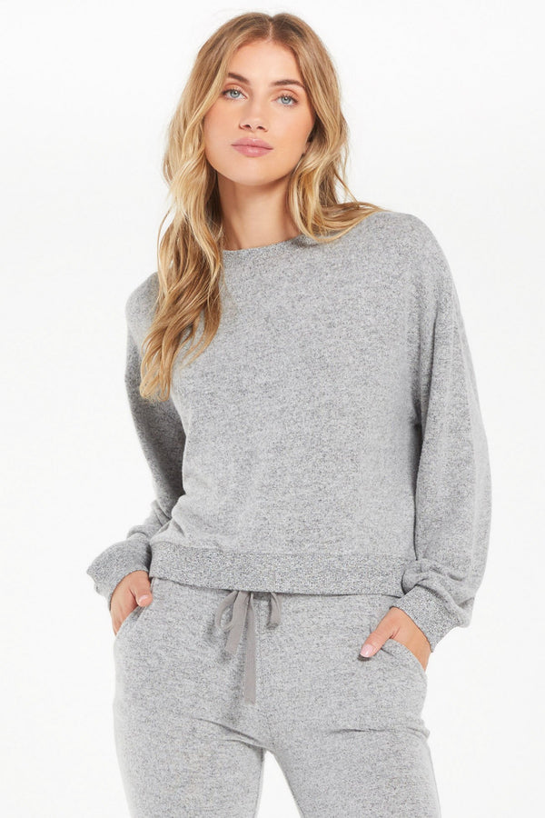 Noa Grey Marled Top