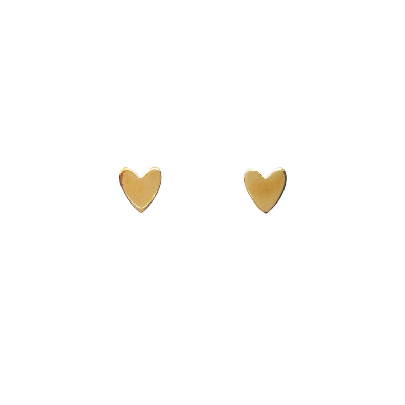 Miracle Heart Studs: Brass