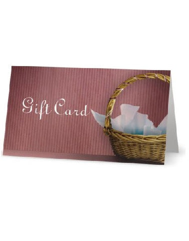 A close up on one fo our gift cards