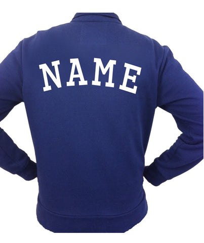 Image of the back of a personalizable blue womens's jacket