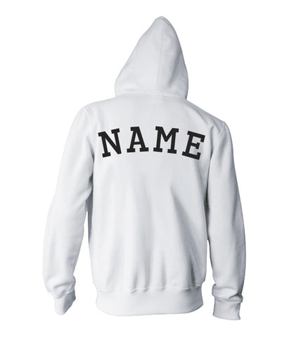 Image of the black of a stylish white personizable Oxford Hoodie.