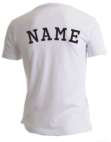 Image of the back of a personalizable men's white t-shirt