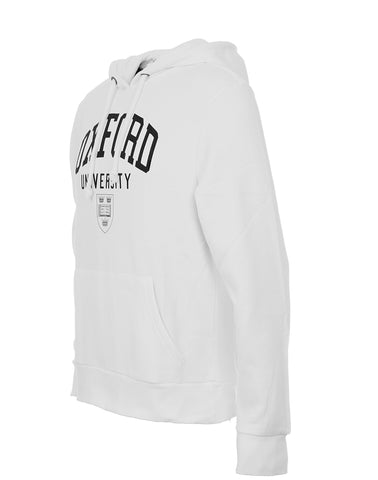 Side-view of a stylish white personizable Oxford Hoodie.