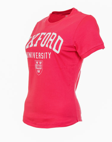 Image of the side of a personalizable women's pink t-shirt