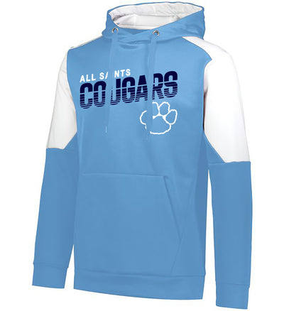 "Youth/Adult ""All Saints Cougars"" Moisture Wicking Performance Polyester Blue Chip Hoodie"