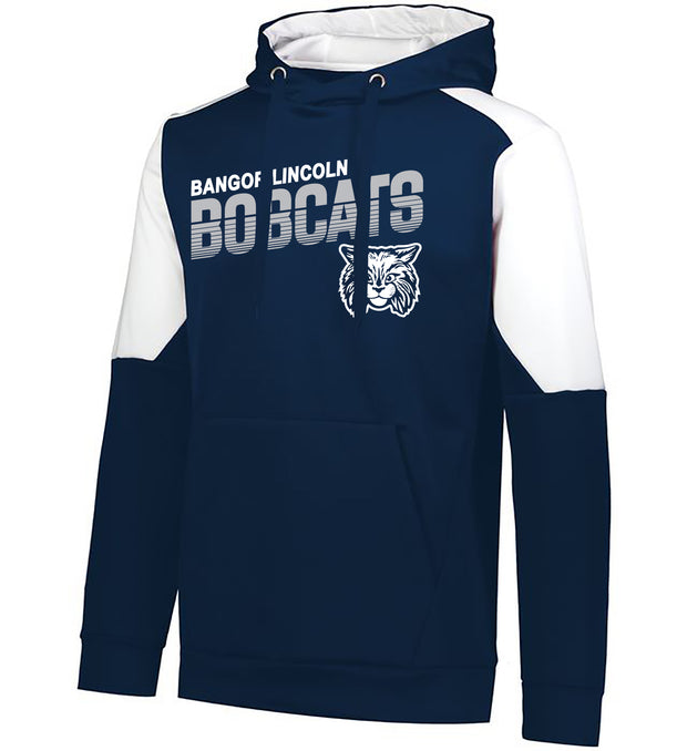 "Youth/Adult ""Bangor Lincoln Bobcats"" Moisture Wicking Performance Polyester Blue Chip Hoodie - Navy/White"