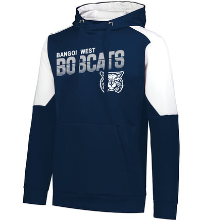 "Youth/Adult ""Bangor West Bobcats"" Moisture Wicking Performance Polyester Blue Chip Hoodie - Navy/White"