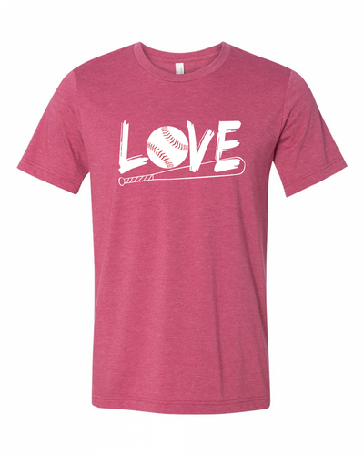 "Adult ""LOVE Baseball"" Jersey Cotton Short Sleeve Tee"