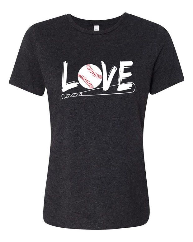 "Ladies ""LOVE Baseball"" Relaxed Jersey Cotton Short Sleeve Tee"