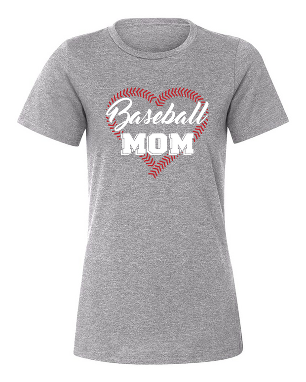 "Ladies ""Baseball Mom (Threaded Heart)"" Relaxed Jersey Short Sleeve Tee"